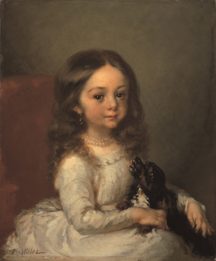 Jean-Francois Millet Portrait of a little girl with a dog 1844-1845