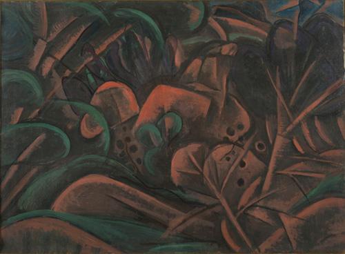 萬鐵五郎《木の間風景》 1918(大正7)年頃 新潟県立近代美術館・万代島美術館蔵