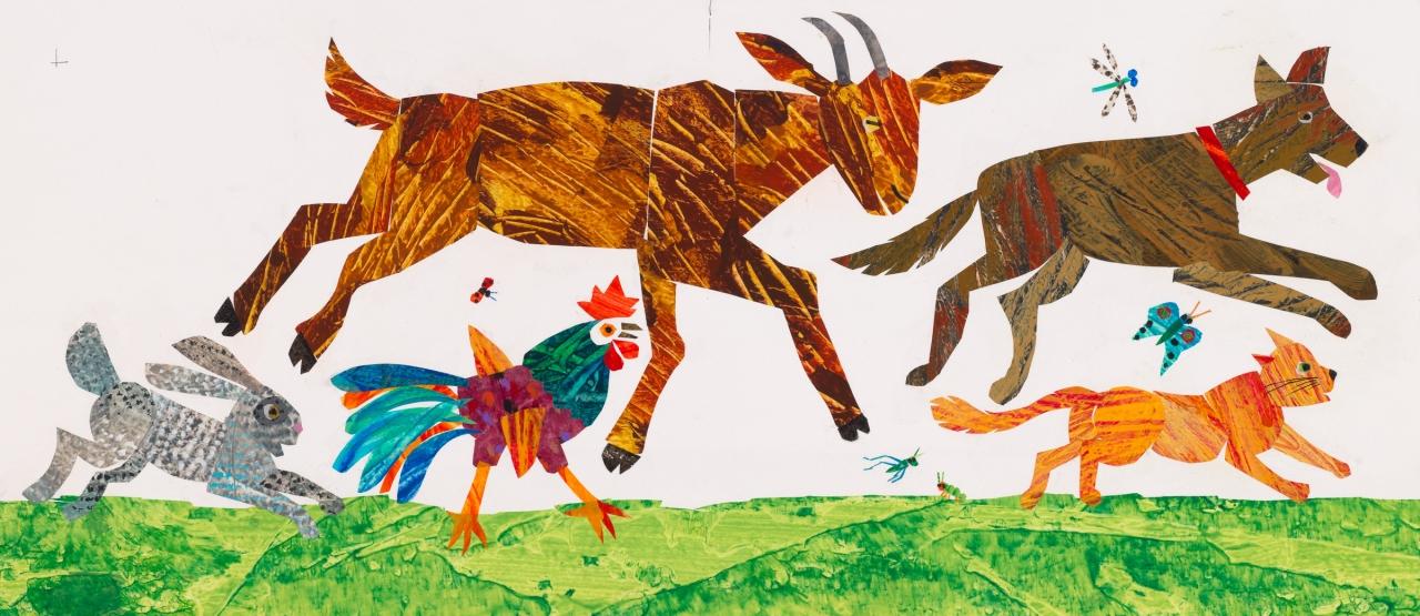 『どこへいくの?To See My Friend !』<br>最終原画、2000年、<br>エリック・カール絵本美術館 © 2001 Eric Carle