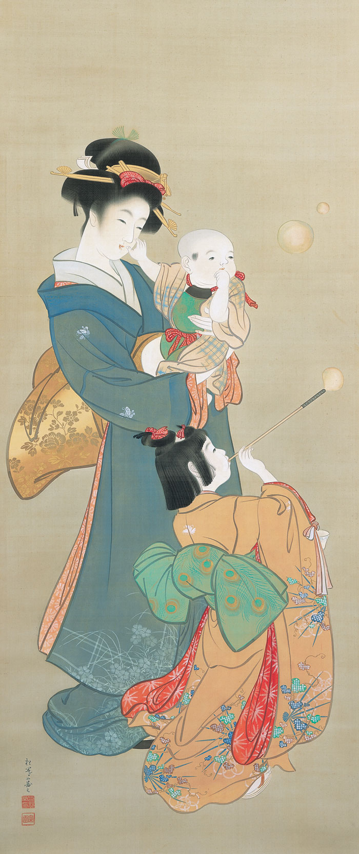 上村松園 (1875-1949)《志ゃぼん玉》明治36(1903)年頃