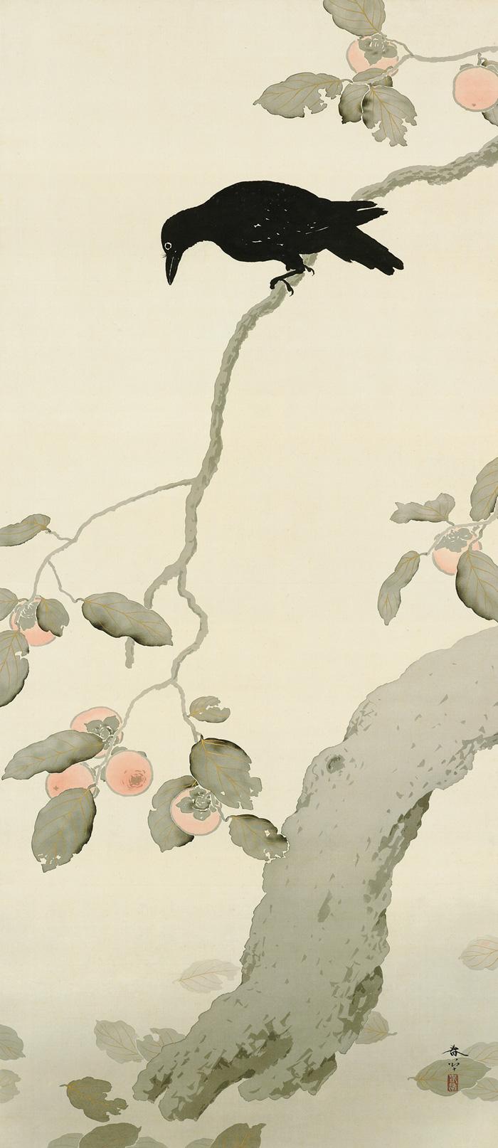 菱田春草 (1874-1911)《柿に烏》明治43(1910)年