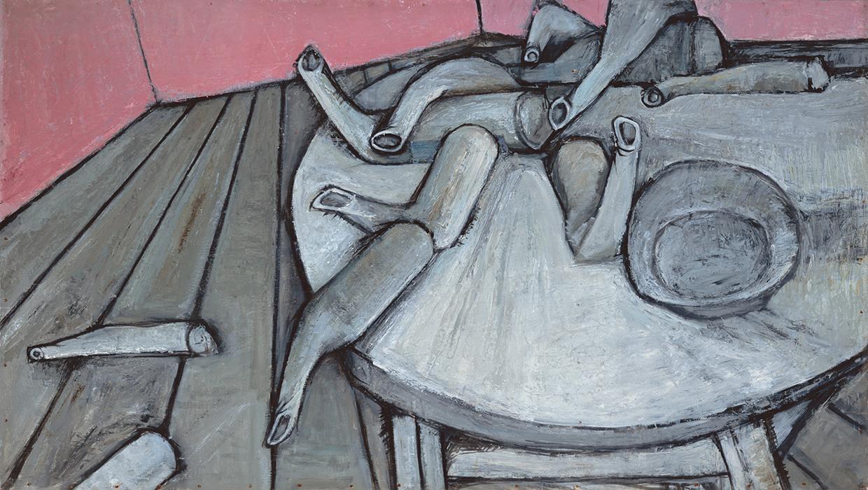 大宮政郎 《アトリエの出来事》 1952年