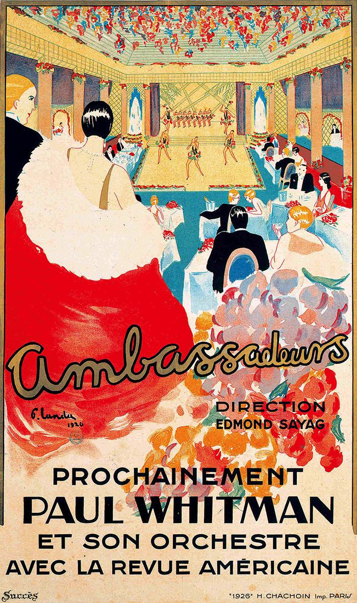 G・ルンデュ 《「ポール・ウィットマン公演」アンバッサドゥール座》 1926年